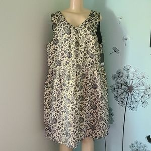 BB Dakota Gold and Black Floral Dress